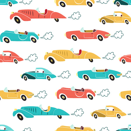 exhaust: Retro cars with exhaust cloud seamless pattern