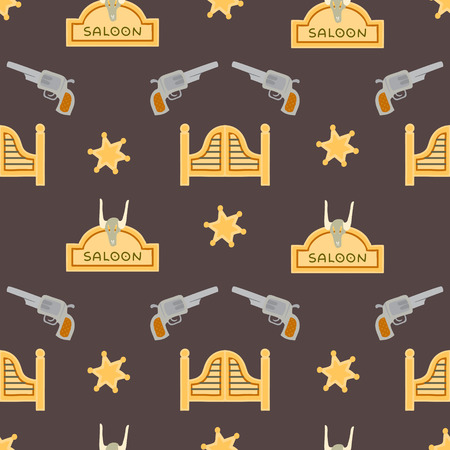 saloon: Saloon seamless patten with revolvers and sheriff star