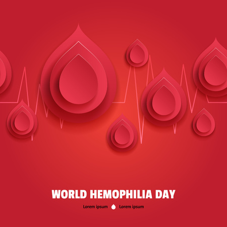 coagulation: World Hemophilia Day. Paper blood drops with cardiogram pulse line on background Illustration