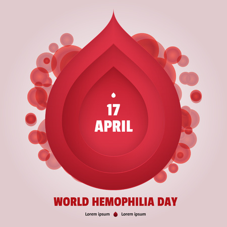 World Hemophilia Day. Blood drop frame with blood cells on background