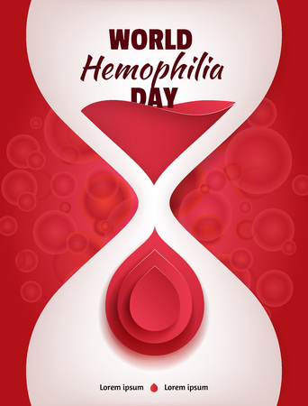 sand watch: World Hemophilia Day. Liquid sand watch illustration with red blood paper drop and blood cells on background