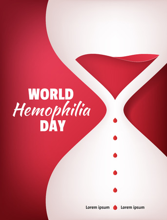 World Hemophilia Day. Liquid sand watch illustration with red blood drops