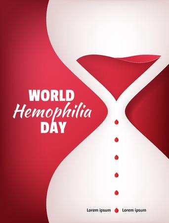 hemophilia: World Hemophilia Day. Liquid sand watch illustration with red blood drops Illustration
