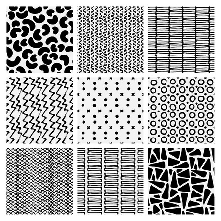 nylon: Abstract monochrome seamless pattern set. Hand drawn fashion texture.