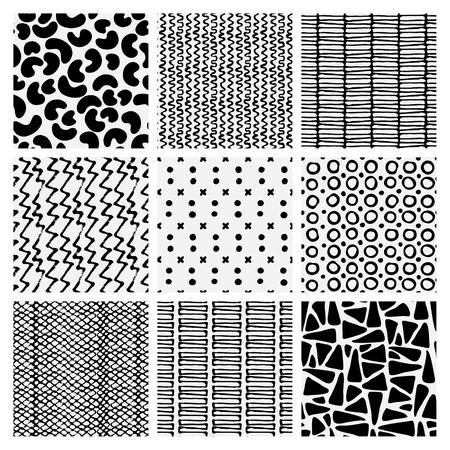dense: Abstract monochrome seamless pattern set. Hand drawn fashion texture.