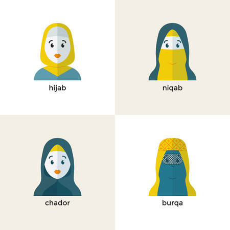 burqa: Stylish muslim headwear icon: hijab, niquab, chador, burqa. Muslim woman vector avatar Illustration