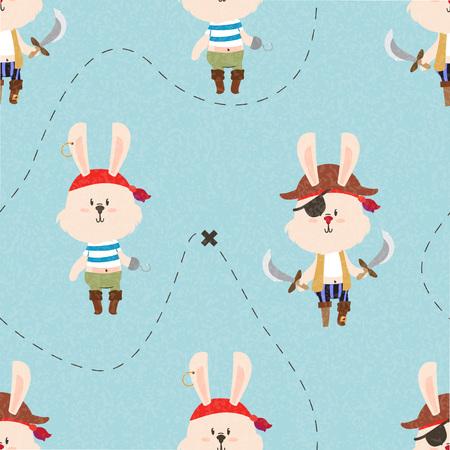 ahoy: Cute pirate rabbits seamless pattern. Treasure map lines. Kids illustration.