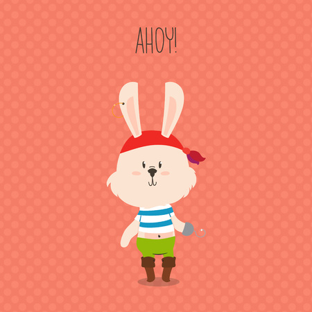 ahoy: Cute pirate rabbit with hook greeting card. Ahoy. Vector design for kids.