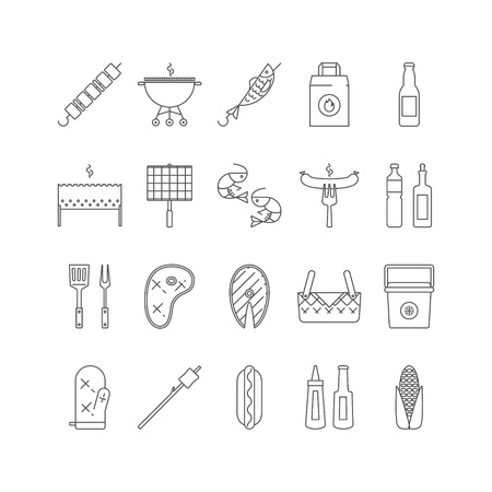 mangal: Summer barbecue and grill lined icon set. Illustration