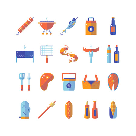 mangal: Summer barbecue and grill colorful flat icon set.
