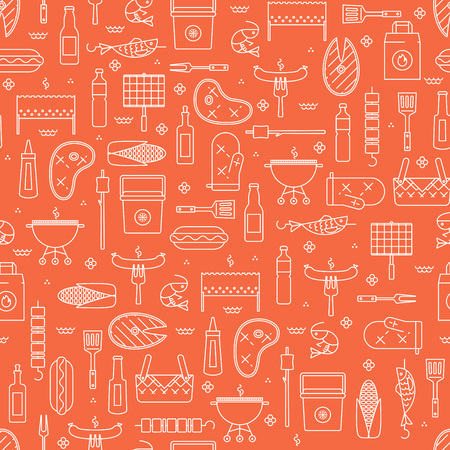 coal fish: Summer barbecue and grill lined icon seamless pattern Illustration