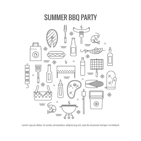 mangal: Summer barbecue and grill concept flyer. Made in line style. Vector isolated illustration Illustration