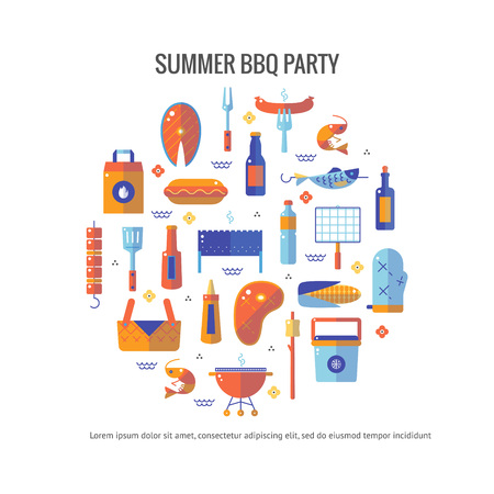 mangal: Summer barbecue and grill concept flyer. Colorful flat vector illustration