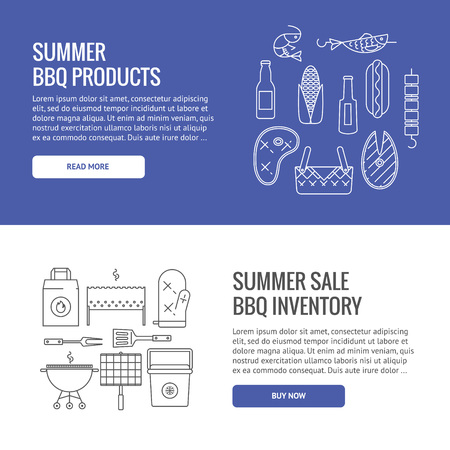 mangal: Summer barbecue and grill concept web banners. Made in line style. Vector isolated illustration