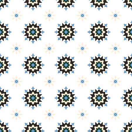 winter flower: Simple abstract winter geometrical flower  vector seamless pattern