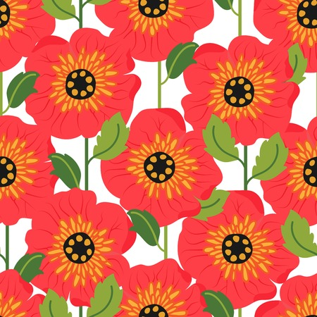 Seamless pattern with poppy flowers. Can be used for web and book design, home decor, fashion textile, wallpaper. Illustration