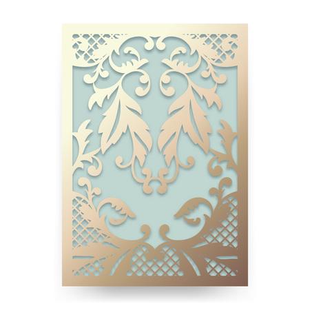 corte laser: invitación de la boda hermosa con el ornamento floral abstracto. adorno de jardín. Modelo del vector para el corte por láser. Se puede utilizar como invitación, sobre, tarjeta de felicitación. Silueta de papel artesanal. Vectores