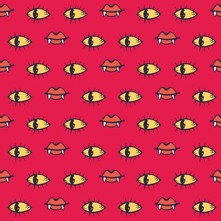 Vampire eyes and lips seamless pattern. Can be used for wrapping paper, textile, web background, greeting cards and party invitations