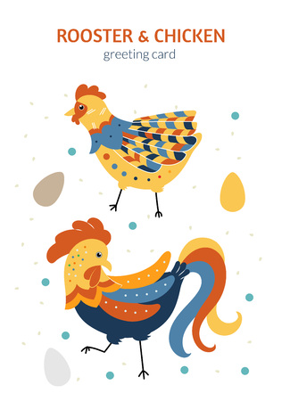 Symbol of the year 2017 on the Chinese calendar. Rooster, chicken and eggs. Can be used as illustration for greeting card, invitation, flyer.