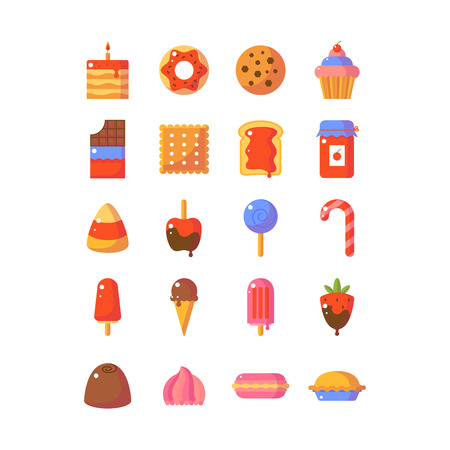 Sweet and candy icon set. Made in flat style