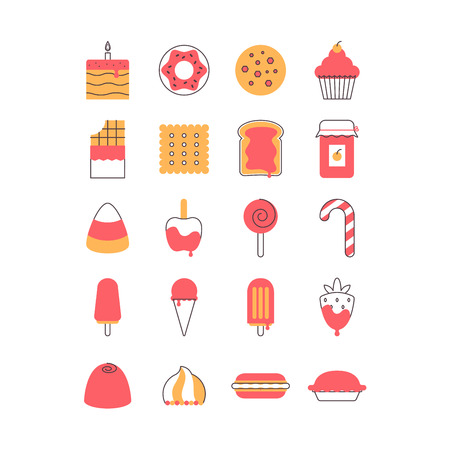 Sweet and candy icon set. Lined with two colors
