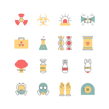 barrel bomb: Nuclear danger and safety icon set.Icons made in flat style