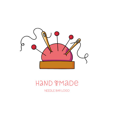 textile industry: Hand made logo pin and needle cushion, hobby icon