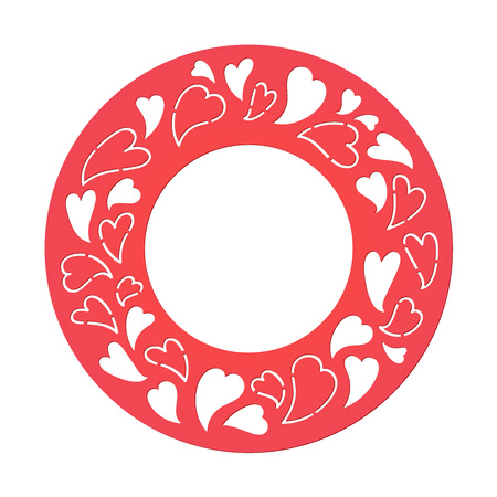 Vector template for laser cutting. Can be used as invitation, envelope, greeting card. Paper craft silhouette. Openwork square frame with hearts for St. Valentine Day