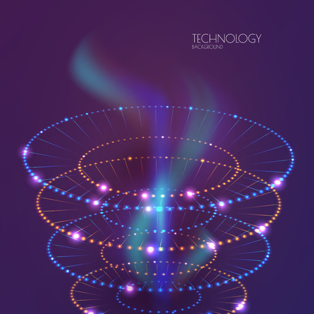 teleportation: Space light rings. Technology abstract background. Business presentation concept.