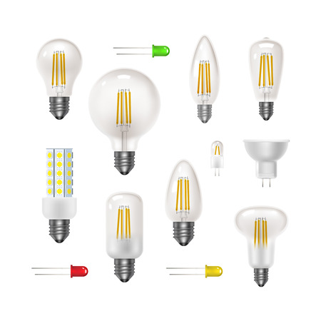 Transparent bulb set. Led energy saving lamps. Realistic icon
