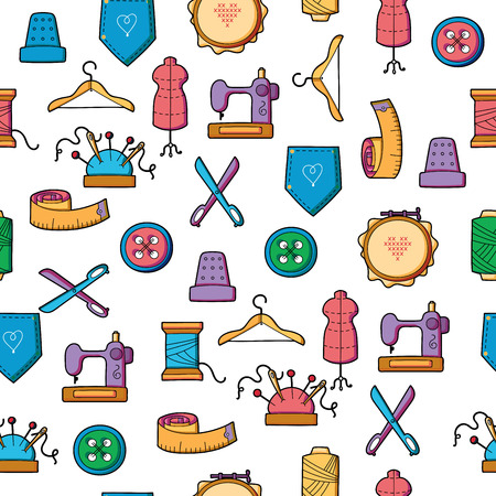 wallpapper: Hand made and hobby tools colorful icon seamless pattern Illustration