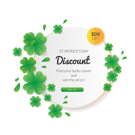 St. Patrick's day Sale background with many clovers. Can be used as greeting card or promotion, invitation Фото со стока - 72959216