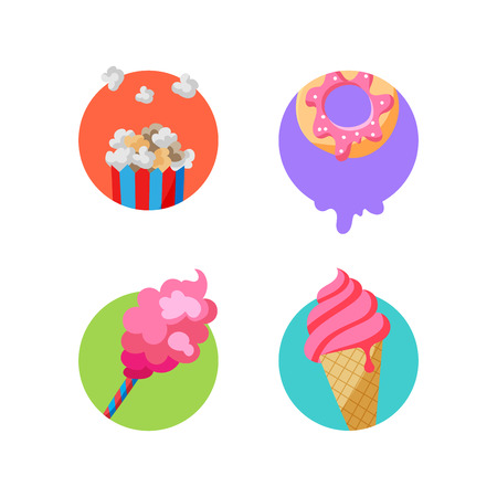 Street food stickers. Vector badges for pack decoration