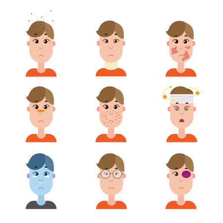 Various disease avatars. Man face made in flat style