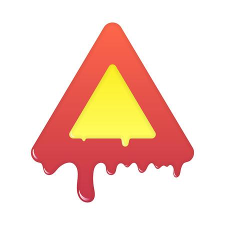 Melting warning icon. Blank beware symbol illustration