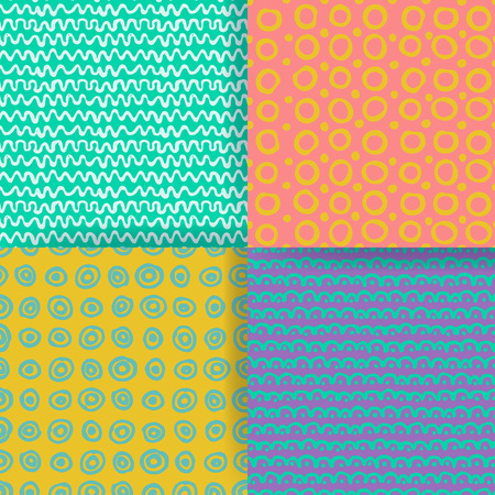 tally: Set of 4 seamless pattern. Hand drawn textures