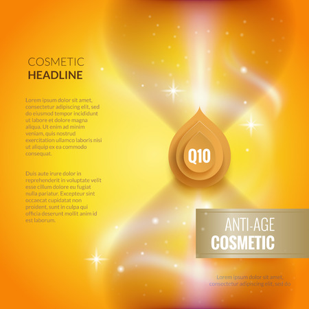 Skin care anti-age cosmetic template. Golden poster or brochure concept. Collagen serum, vitamin and Q10 Background.