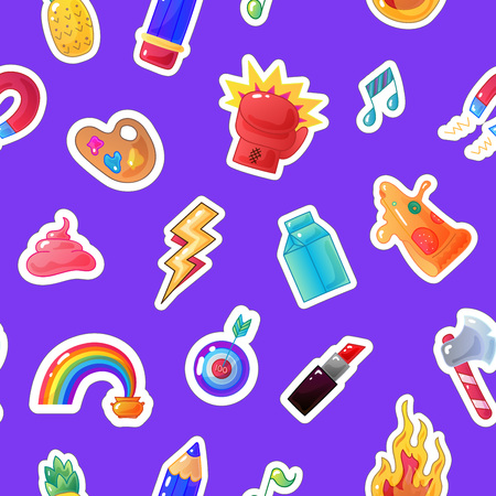sarcastic: Fashion sticker seamless pattern. Vector patch background Illustration