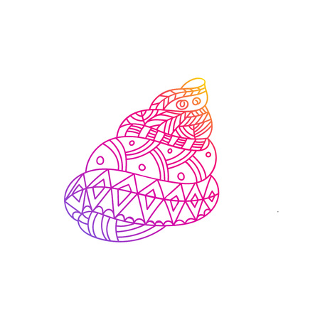 Seashell isolated illustration. Marine life colorful line art. Adult coloring page with color Contour