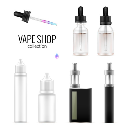 Set of realistic vape package bottles and e-cigarette. Collection of equipment template.  Vector isolated mockup on white