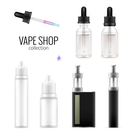 Set van realistische vape-pakketflessen en e-sigaret. Verzameling van apparatuur sjabloon. Vector geïsoleerd mockup op wit