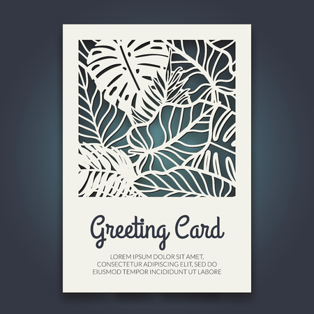 Beautiful card with palm tree leaves. Rain forest motif. Vector template for laser cutting. Can be used as invitation, envelope, greeting card. Paper craft silhouette. Illustration