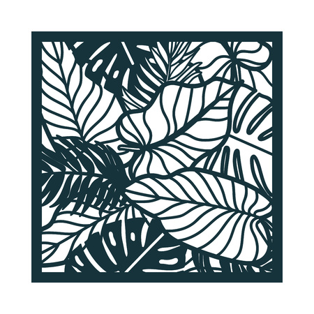 Beautiful card with palm tree leaves. Rain forest motif. Vector template for laser cutting. Can be used as invitation, envelope, greeting card. Paper craft silhouette. Çizim