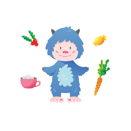 Cute Yeti cartoon character with christmas elements