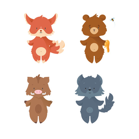 lince: Cartoon design wild forest animals set
