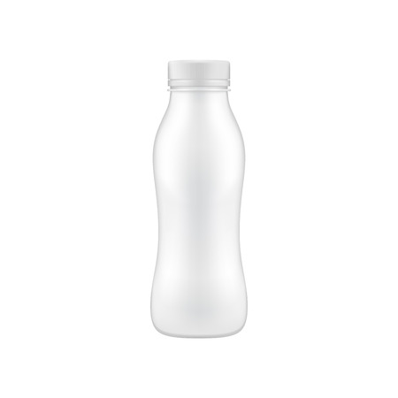 Clean drinking bottle mock up. Can be used for milk, yogurt product presentation Иллюстрация