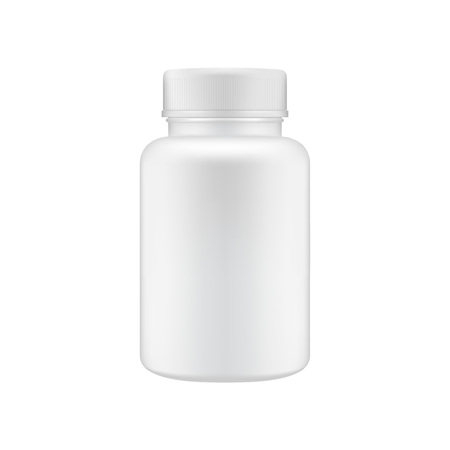Medical clean plastic bottle template. Mock up container for pills.