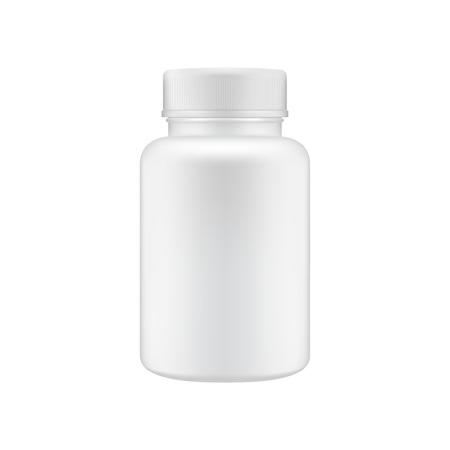 Szablon czysty plastikowej butelki medycznej. Makiety pojemnika na pigułki. Ilustracje wektorowe