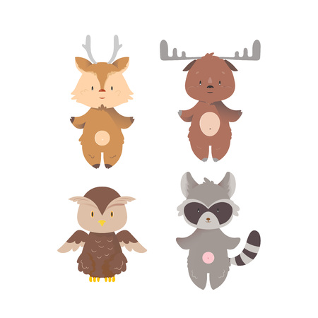 Cartoon design wild forest animals set