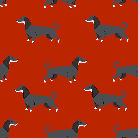 seamless pattern with dachshund. 2018 dog symbol